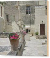 Matera With Flowers Wood Print