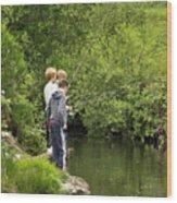Mates Fishing Wood Print