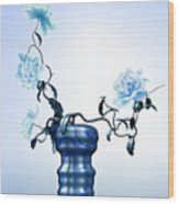 Math Flowers In Blue 1 Wood Print by GuoJun Pan