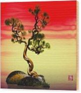 Math Pine 1 Wood Print by GuoJun Pan