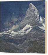 Matterhorn In Starry Night Wood Print