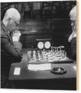 Mature Men Playing Chess, Profile (b&w) Wood Print by Hulton Archive
