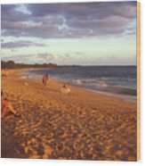 Maui Beach In Evening Wood Print