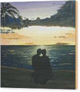 Maui Beach Sunset Wood Print