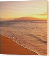 Maui, Hazy Orange Sunset Wood Print