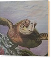 Maui Sea Turtle Wood Print