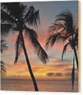 Maui Sunset Palms Wood Print