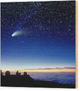 Mauna Kea Telescopes Wood Print by D Nunuk and Photo Researchers