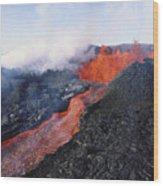 Mauna Loa Eruption Wood Print by Joe Carini - Printscapes