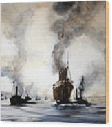 Mauritania Leaving River Tyne 1907. Wood Print