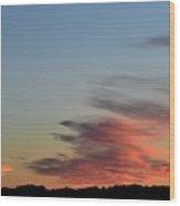Mauve Clouds In A Blue Sky  Wood Print
