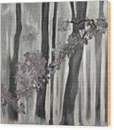 Mauve Leaves Wood Print