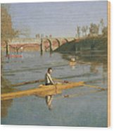 Max Schmitt In A Single Scull Wood Print by Thomas Cowperthwait Eakins