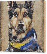 Max The Military Dog Wood Print