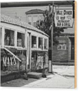 Max's Diner New Jersey Black And White Wood Print