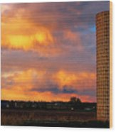 May Day Silo Sunset Wood Print