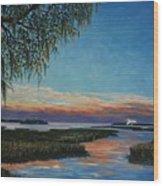 May River Sunset Wood Print