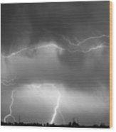 May Showers - Lightning Thunderstorm  Bw 5-10-2011 Wood Print