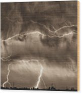 May Showers - Lightning Thunderstorm Sepia Hdr Wood Print