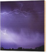 May Showers 2 In Color - Lightning Thunderstorm 5-10-11 Boulder Wood Print