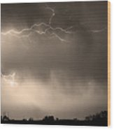 May Showers 2 In Sepia - Lightning Thunderstorm 5-10-2011   Wood Print