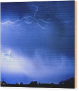 May Showers Two In Color - Lightning Thunderstorm 5-10-2011 Wood Print