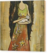 Maya And The Cat Wood Print