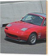 Mazda Miata On Pit Lane Wood Print