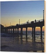 Mb Pier Sunset Wood Print