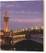 Bridge Of Alexandre IIi At Night Wood Print