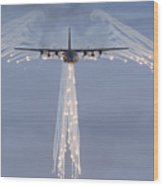 Mc-130h Combat Talon Dropping Flares Wood Print