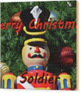 Custom Soldier Christmas Card Wood Print