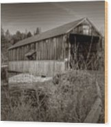 Mccann Covered Bridge  Wood Print by Jason Bennett