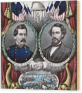 Mcclellan And Pendleton Campaign Poster Wood Print