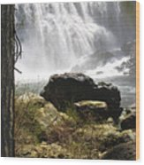 Mccloud Middle Falls Wood Print
