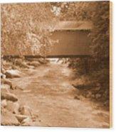 Mcconnells Mill Covered Bridge Sepia Wood Print