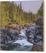 Mcdonald Creek Falls Wood Print