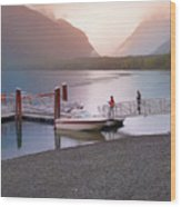 Mcdonald Lake At Dusk Wood Print