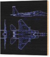 Mcdonnell Douglas F-15 Eagle Black Diagram Indigo Lines Wood Print