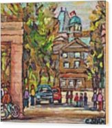 Mcgill Gates  Entrance Of Mcgill University Montreal Quebec Original Oil Painting Carole Spandau Wood Print