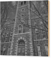 Mcgraw Hall - Bw Wood Print