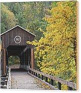 Mckee Bridge In Fall Wood Print