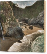 Mcway Falls Hwy 1 California Wood Print by Connie Cooper-Edwards