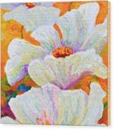 Meadow Angels - White Poppies Wood Print
