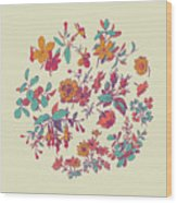 Meadow Flower And Leaf Wreath Isolated On Beige, Circle Doodle F Wood Print
