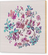 Meadow Flower And Leaf Wreath Isolated On Pink, Circle Doodle Fl Wood Print