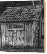 Meadow Shelter - Bw Wood Print