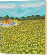 Meadow With Yellow Dandelions, Oil Painting Wood Print