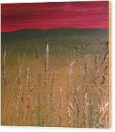 Meadows Autumn Sunset  Wood Print