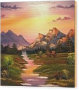 Meandering Rainbow River Wood Print